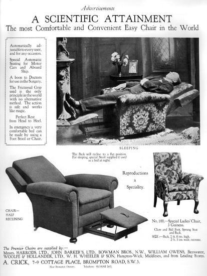 An Advertisement for 'Premier' Easy Chairs, 1926--Giclee Print