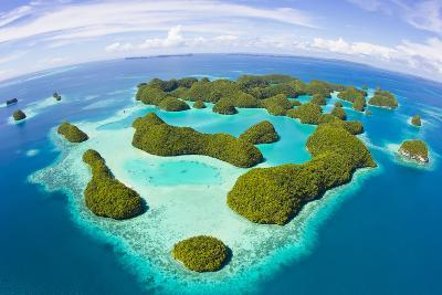 An Aerial Fisheye Lens View of Palau's Rock Islands in the Turquoise Waters of the Pacific Ocean-Mike Theiss-Photographic Print