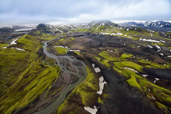 An Aerial of a Rolling Green Landscape and Streams of Glacier Runoff at Southern Iceland-Keith Ladzinski-Photographic Print