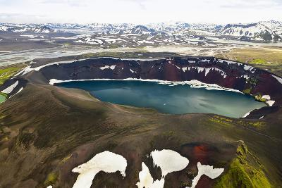 An Aerial View of a Deep Blue Crater Lake in the Interior of Southern Iceland-Keith Ladzinski-Photographic Print