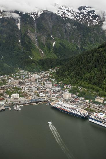 An Aerial View of Cruise Ships and a Seaplane in Juneau's Harbor-Jonathan Kingston-Photographic Print
