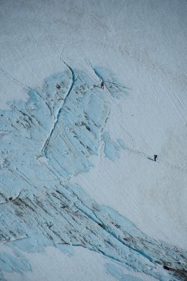 An Aerial View of Hikers in a Vast Patagonia Landscape of Snow and Ice--Photographic Print
