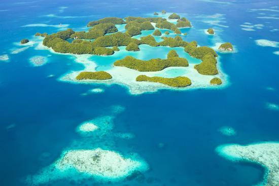 An Aerial View of Palau's Rock Islands in the Turquoise Waters of the Pacific Ocean-Mike Theiss-Photographic Print