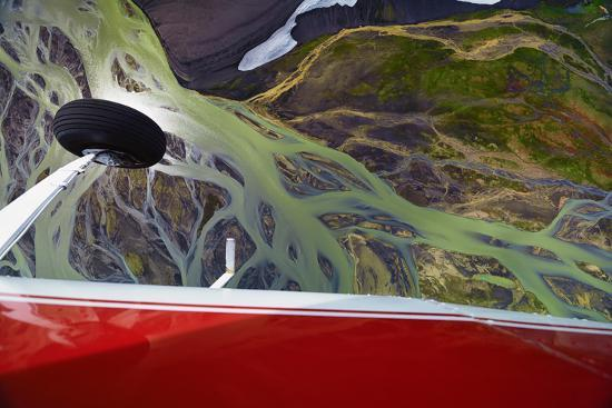 An Aerial View of Streams of Glacier Runoff, known as Lahar, in of Southern Iceland-Keith Ladzinski-Photographic Print