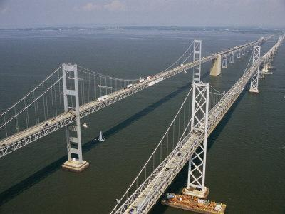An Aerial View of the Chesapeake Bay Bridge-Richard Nowitz-Photographic Print