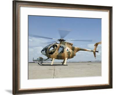 An Afghan Air Force MD-530F Helicopter at Shindand Air Base-Stocktrek Images-Framed Photographic Print