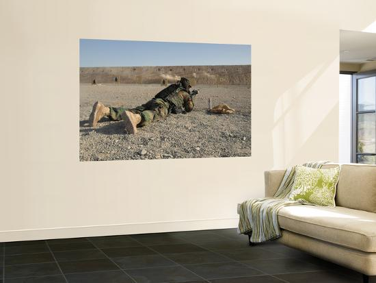 An Afghan Commando Engages Training Targets on the Firing Range-Stocktrek Images-Wall Mural