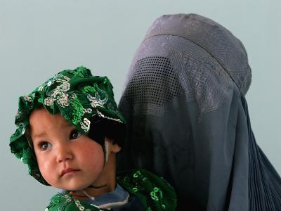 An Afghan Mother Waits with Her Daughter Before Attending Medical Care--Photographic Print