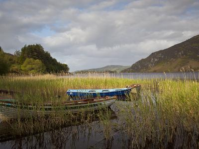 An Afternoon Landscape of a Lake with Rowboats in the Foreground-Kenneth Ginn-Photographic Print