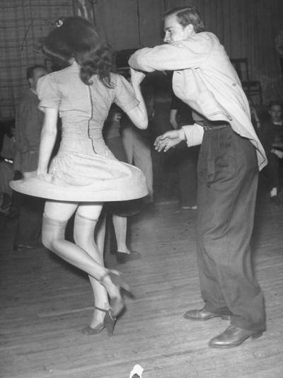 An Aircraft Worker Dancing with His Date at the Lockheed Swing Shift Dance-Peter Stackpole-Photographic Print