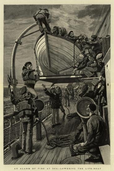 An Alarm of Fire at Sea, Lowering the Life-Boat--Giclee Print