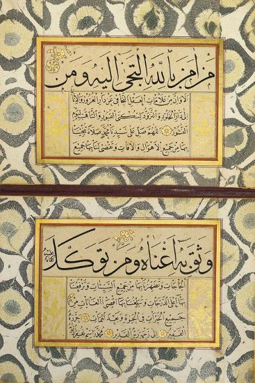 An Album of Calligraphy (Muraqqa), Ottoman, 19th Century (Manuscript on Card)--Giclee Print