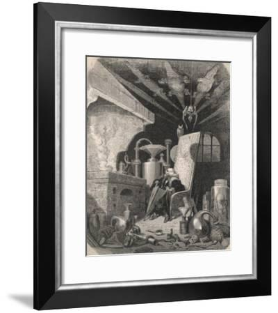 An Alchemist Anxiously Watches the Progress of His Work-Gustave Doré-Framed Giclee Print