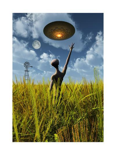 An Alien Being Directing a Ufo in Making Crop Circles--Art Print