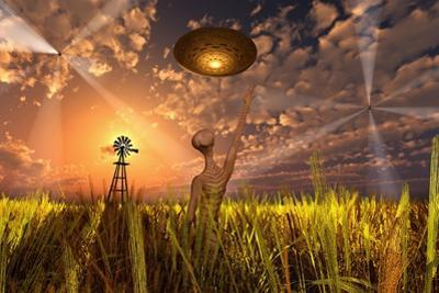 An Alien Being Directing its Spacecraft to Make Crop Circles