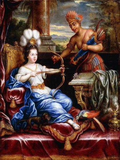 An Allegory of America Paying Homage to Europe-Pierre Mignard-Giclee Print