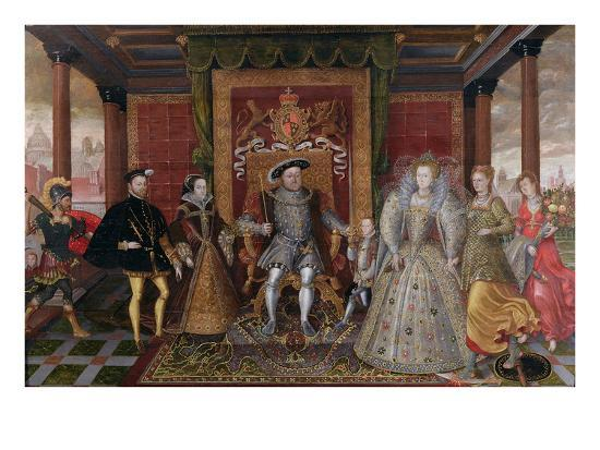 An Allegory of the Tudor Succession: the Family of Henry Viii, C.1589-95 (Oil on Panel)-English-Giclee Print
