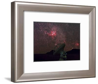 An Alma Telescope Photographed with a Special Deep Sky Filter to Reveal the Nebulosity in the Sky-Babak Tafreshi-Framed Photographic Print