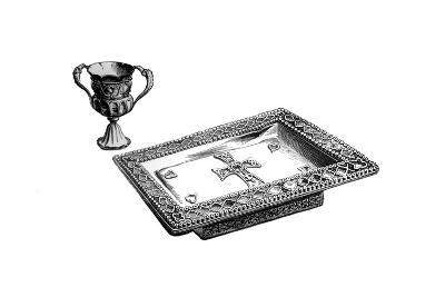 An Altar Tray and Chalice in Enamelled Gold, C 4th or 5th Century, 1870--Giclee Print
