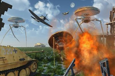 An Alternate Reality Where Allied and German Forces Unite in Fighting an Alien Invasion--Art Print