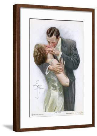 An American Couple, in Evening Dress, Kiss Ardently Yet with Decorum--Framed Giclee Print