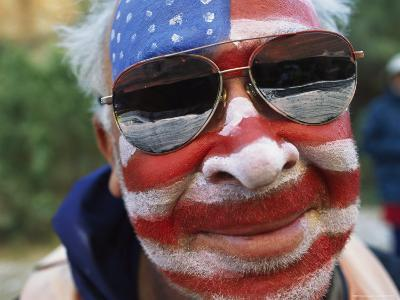 An American Flag is Painted on Mans Face in Arizona-David Edwards-Photographic Print