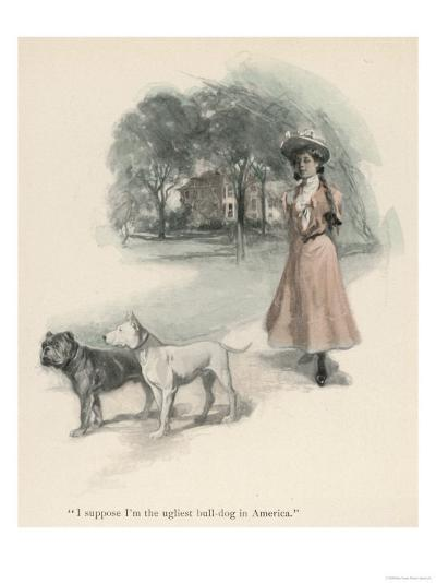 An American Girl Walks with an English Bull Terrier and and a Bulldog--Giclee Print