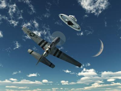 An American P-51 Mustang Gives Chase to a UFO-Stocktrek Images-Photographic Print