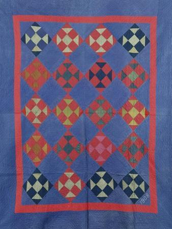 An Amish Hole in the Barn Door Design Coverlet. Holmes County, Ohio, 1908