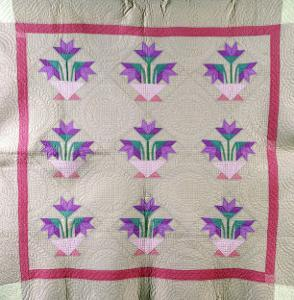 An Amish Pieced and Appliqued Cotton Quilted Coverlet, circa 1930