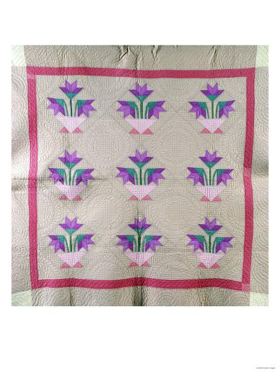 An Amish Pieced and Appliqued Cotton Quilted Coverlet, circa 1930--Giclee Print