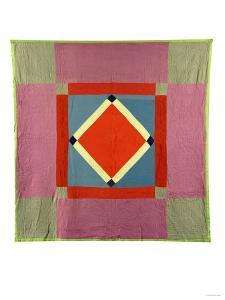 An Amish Pieced Cotton and Wool Quilted Coverlet, Lancaster County, Pennsylvania, circa 1925