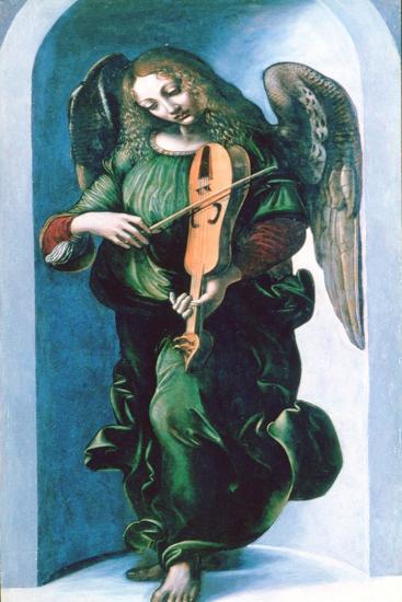 An Angel in Green with a Vielle, C1500-Leonardo da Vinci-Giclee Print