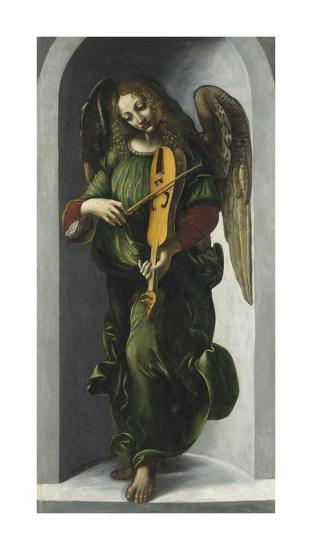 An Angel in Green with a Vielle-Leonardo Da Vinci-Premium Giclee Print