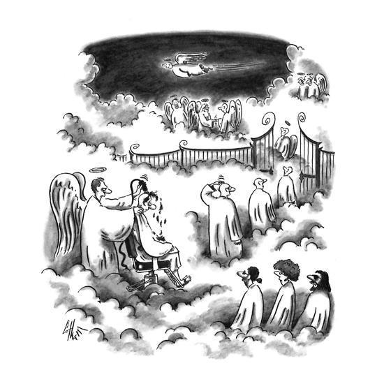 An angel shaving all the new angel's heads before entering Heaven - New Yorker Cartoon-Frank Cotham-Premium Giclee Print