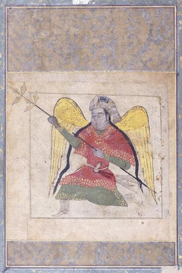 An Angel Wearing a Turban, Bearing a Staff, C.1370-80 (Gouache with Gold Paint on Paper)--Giclee Print
