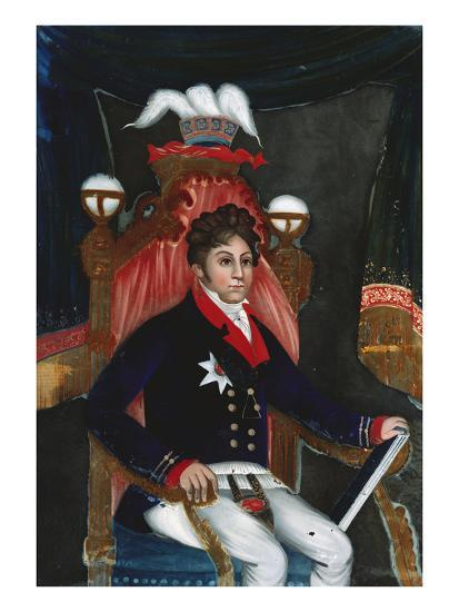 An Anglo Chinese Reverse Glass Painting of George Iv as Prince Regent--Giclee Print