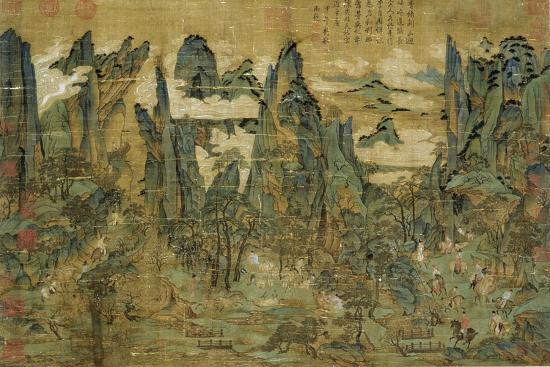 "An Anonymous Painting ""The Flight of the Emperor Ming Huang to Shu""--Giclee Print"