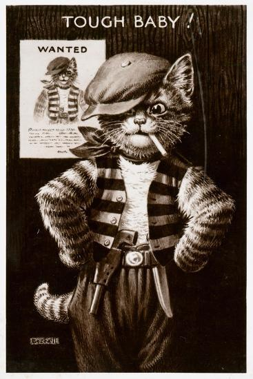 An Anthropomorphic Cat Smoking a Cigarette--Giclee Print