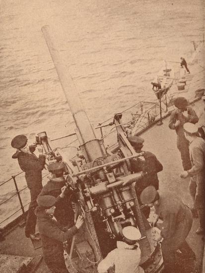 An anti-aircraft gun in action on a British battleship, c1917 (1919)-Unknown-Photographic Print