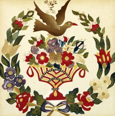 An Appliqued and Painted Cotton Album Quilt Square, Baltimore, 19th Century