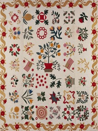 An Appliqued and Pieced Album Quilt, Maryland, Mid 19th Century