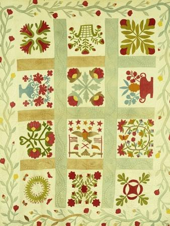 An Appliqued and Stuffed Cotton Quilted Coverlet, American, Mid 19th Century