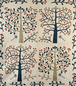An Appliqued Cotton Quilted Coverlet, American, Mid 19th Century