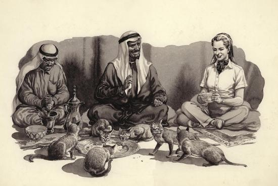 An Arab Man Feeds His Cats-Pat Nicolle-Giclee Print