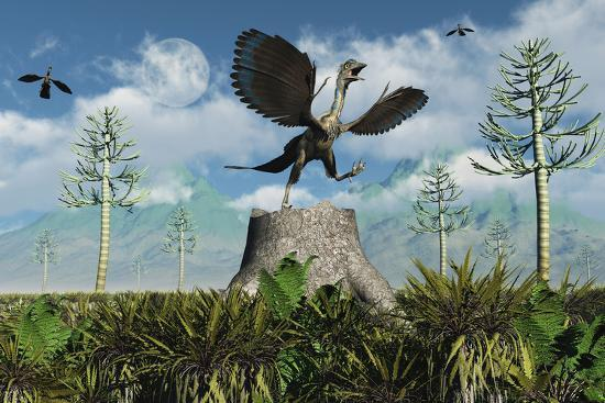 An Archaeopteryx Takes Flight from Atop a Tree Stump-Stocktrek Images-Art Print