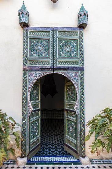 An Arched Painted Door in Le Jardin Des Biehn, a Riad or Small Hotel in the Medina of Fez-Richard Nowitz-Photographic Print