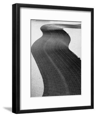 An Ariel Picture from the Dust Bowl,With Deep Furrows Made by Farmers to Counteract Wind-Margaret Bourke-White-Framed Premium Photographic Print