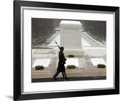 An Arlington Honor Guardsman Walks His Post Past the Tomb of the Unknown Soldier-Stocktrek Images-Framed Photographic Print