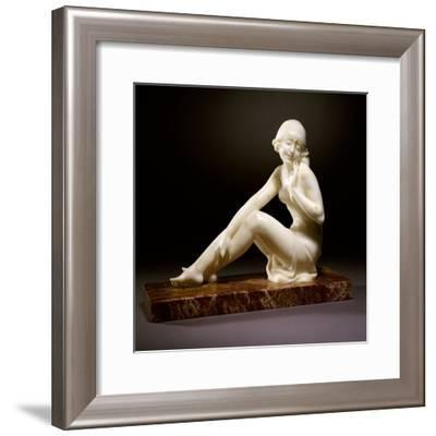 An Art Deco Alabaster Figure, Modelled as a Nude Female Bather--Framed Giclee Print